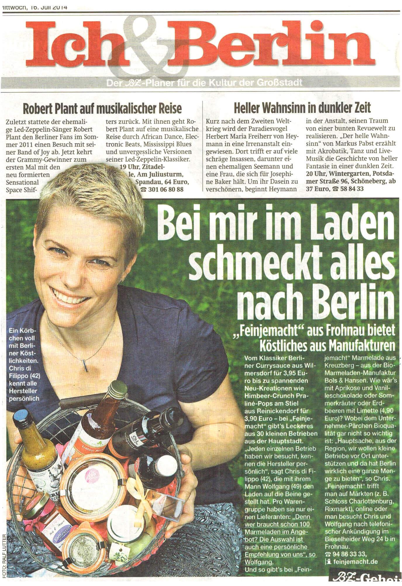 Pressebericht über feinjemacht von der Berliner Zeitung