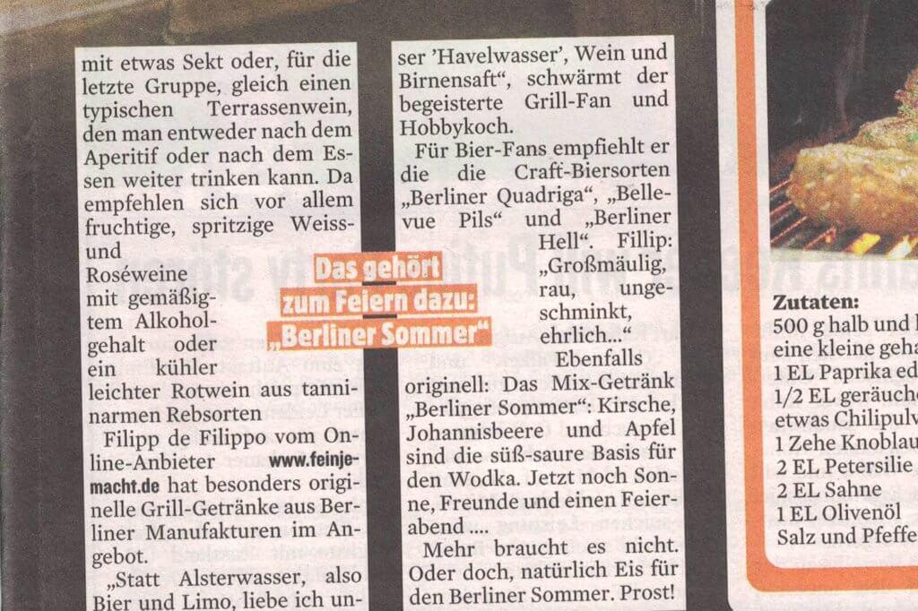 Presseartikel Berliner Kurier über feinjemacht